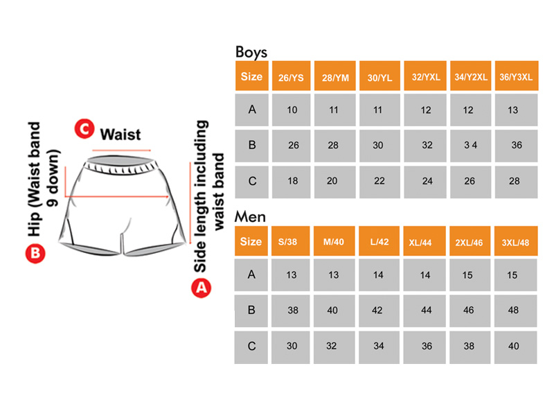 Kho Kho & Kabaddi Shorts Size Chart for Boys & Men
