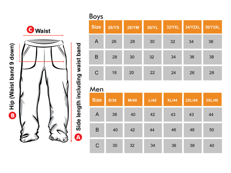 Track lower Size Chart for Boys & Men