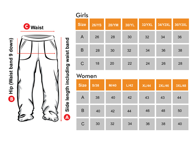 Track lower Size Chart for Girls & Women