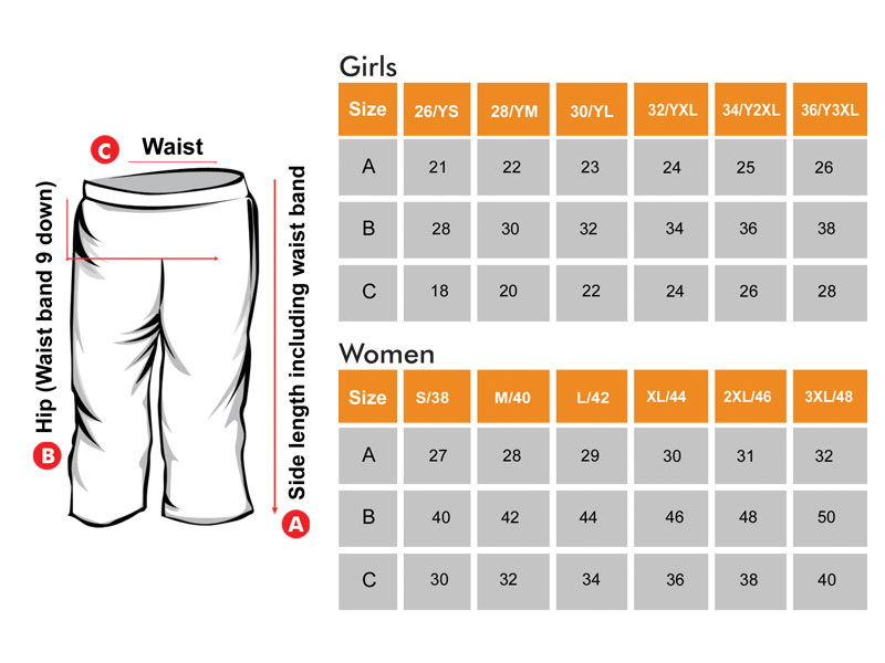 3/4 Shorts Size Chart  for Girls & Women