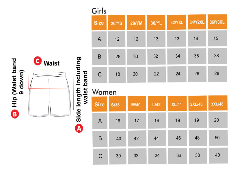 Shorts Size Chart  for Girls & Women