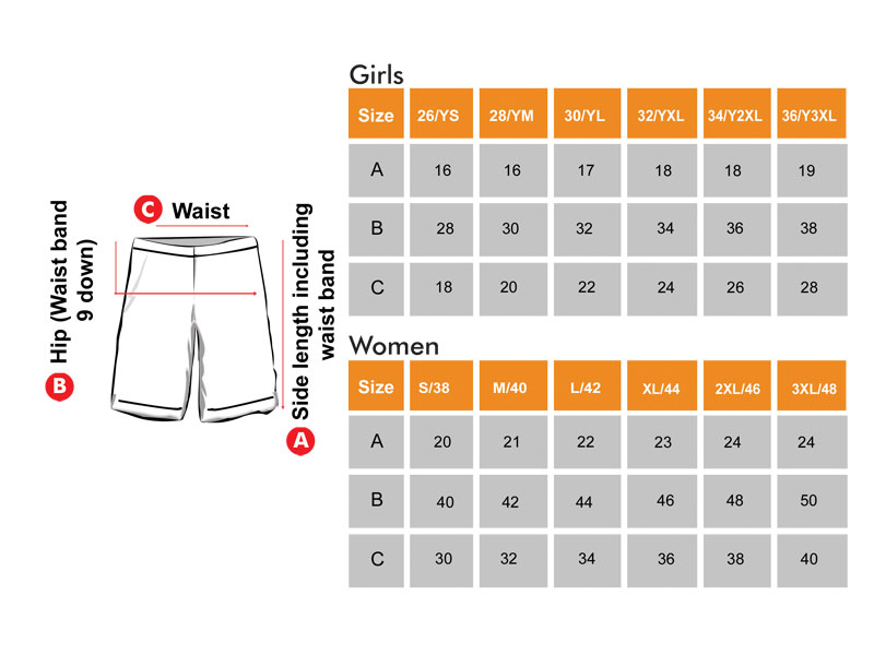 Long Shorts Size Chart  for Girls & Women