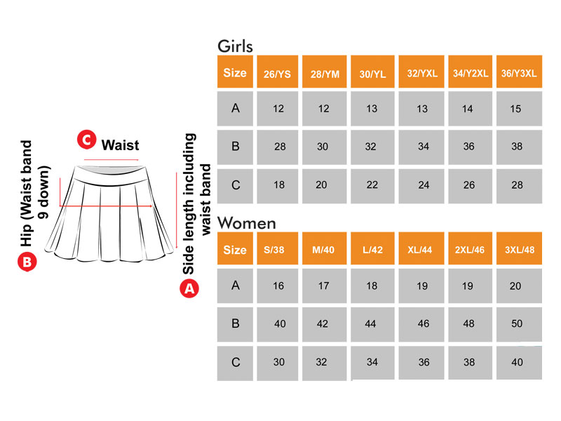 Skirts Size Chart  for Girls & Women
